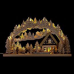 3D-Schwibbogen Holzfäller mit Raureif - 72x43 cm