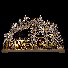3D-Schwibbogen Kunsthandwerk aus dem Erzgebirge mit Raureif - 72x43 cm