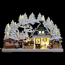 3D-Schwibbogen Nikolausmarkt mit Raureif - 40x30x7 cm