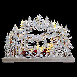 3D-Schwibbogen Schneeballschlacht mit Raureif - 43x30x7 cm