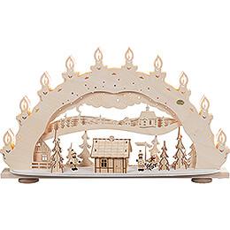 3D-Schwibbogen Skihütte mit Räucherhaus - 66x40 cm