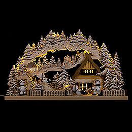 3D-Schwibbogen Snowmolli-Paradies mit Raureif - 72x43 cm