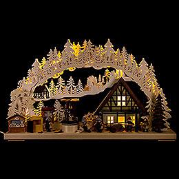 3D-Schwibbogen Weihnachtsmarktbau - 72x43 cm