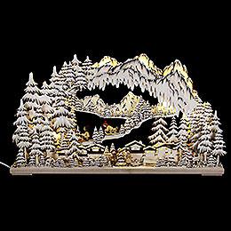 3D-Schwibbogen Wintersport braun mit Raureif - 72x43 cm