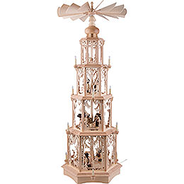 4-Tier Christmas Pyramid - Forest Design - Electrical with Figurines - 135 cm / 53 inch