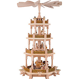 4-Tier Pyramid - Nativity Scene Natural Wood - 54 cm / 21 inch