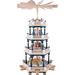 4-stöckige Pyramide Christi Geburt blau - 54 cm