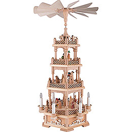 4-stöckige Pyramide Christi Geburt, natur, elektrisch - 61 cm