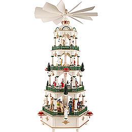 4-stöckige Pyramide Christi Geburt mit Spielwerk - 70 cm