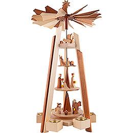 4-stöckige Pyramide Christi Geburt - natur - 60 cm