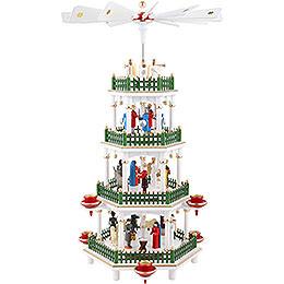 4-stöckige Pyramide Christi Geburt weiss - 47 cm