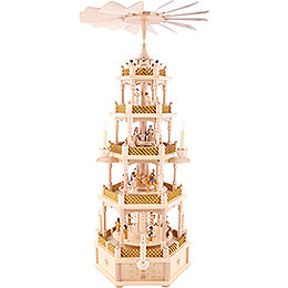 5-Tier Pyramid - Nativity Scene Natural Wood - 75 cm / 30 inch