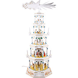 5-Tier Richard Glässer Christmas Pyramid - Romantic - White - 123 cm / 48 inch