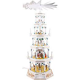 5-stöckige Lichterpyramide von Richard Glässer - Romantik - weiß - 123 cm