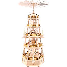5-stöckige Pyramide Christi Geburt natur - 75 cm