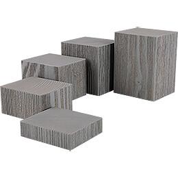 5-teiliges Deko-Set Klötze, grau - 12 cm