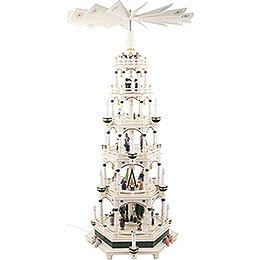 6-stöckige Weihnachtspyramide weiß-grün, elektrisch - 106 cm - 220V Motor