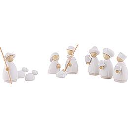 9-teiliges Krippenset weiß/natur - klein - 7 cm
