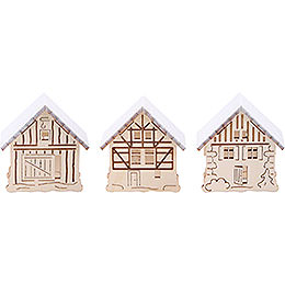 Additional Houses with Snow, Set of Three - 5,5x5 cm / 2.2x2 inch