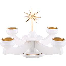 Adventsleuchter Weihnachtsstern, für Stumpen oder Teelichter, weiß - 19 cm