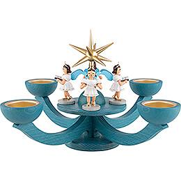 Adventsleuchter blau, mit Teelichthalter und 4 stehenden Engeln - 31x31 cm