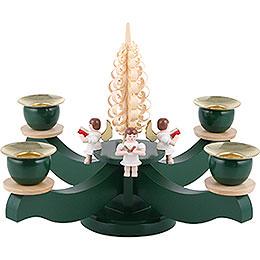 Adventsleuchter grün vier sitzende Engel mit Spanbaum - 22x19 cm