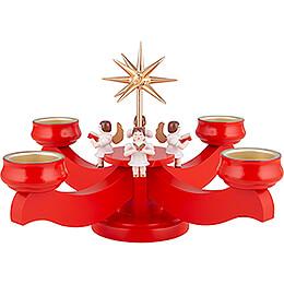 Adventsleuchter mit Engeln rot - 19 cm