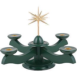 Adventsleuchter mit Weihnachtsstern und Adventsgrün - 29x29x26 cm