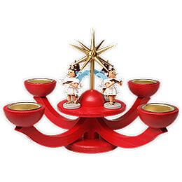 Adventsleuchter rot, mit Teelichthalter und 4 stehenden Engeln - 31x31 cm