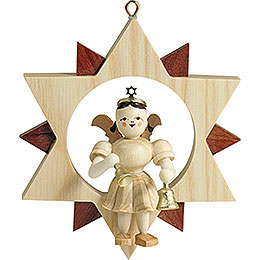 Angel Sitting in a Star with Bells, Natural - 9 cm / 3.5 inch