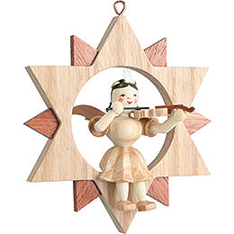 Angel Sitting in a Star with Violin , Natural - 9 cm / 3.5 inch