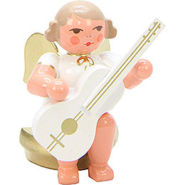 Angel White/Gold Sitting with Guitar - 5,5 cm / 2 inch