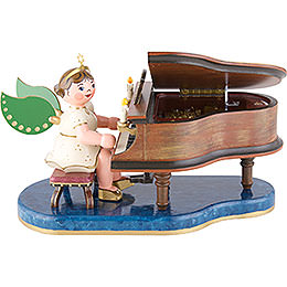 Angel at Piano with Music Box - 16 cm / 6 inch