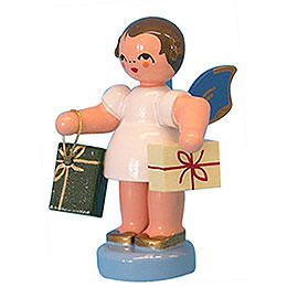 Angel with 2 Gifts- Blue Wings - Standing - 6 cm / 2,3 inch