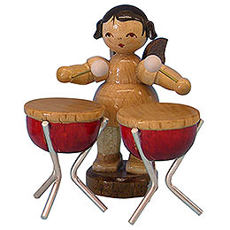 Angel with 2 Timbals - Natural Colors - Standing - 6 cm / 2,3 inch