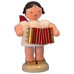 Angel with Accordion - Red Wings - Standing - 9,5 cm / 3,7 inch
