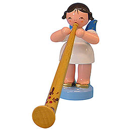 Angel with Alphorn - Blue Wings - Standing - 6 cm / 2,3 inch