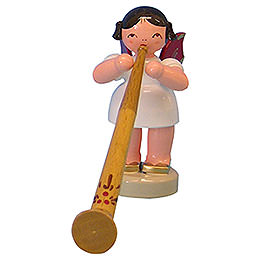Angel with Alphorn - Red Wings - Standing - 6 cm / 2,3 inch