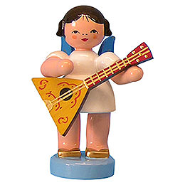 Angel with Balalaika - Blue Wings - Standing - 6 cm / 2,3 inch