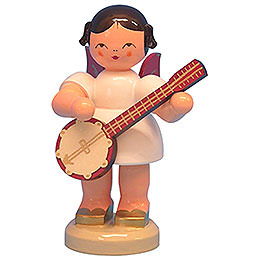Angel with Banjo - Red Wings - Standing - 9,5 cm / 3,7 inch
