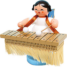 Angel with Bass Xylophone - Blue Wings - Standing - 6 cm / 2.4 inch