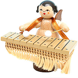 Angel with Bass Xylophone - Natural Colors - Standing - 6 cm / 2.4 inch