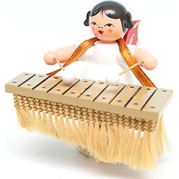 Angel with Bass Xylophone - Red Wings - Standing - 6 cm / 2.4 inch
