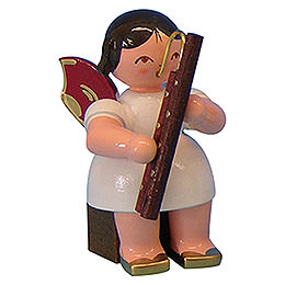Angel with Bassoon - Red Wings - Sitting - 5 cm / 2 inch