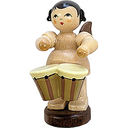 Angel with Bongo Drums - Natural Colors - 6 cm / 2.4 inch