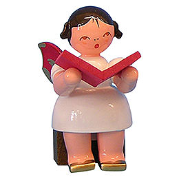Angel with Book - Red Wings - Sitting - 5 cm / 2 inch