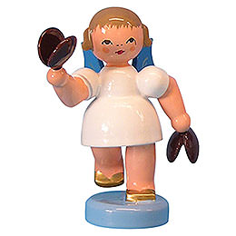 Angel with Castanets - Blue Wings - Standing - 6 cm / 2,3 inch