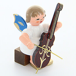 Angel with Cello - Blue Wings - Sitting - 5 cm / 2 inch