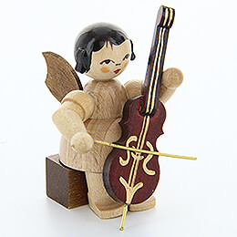 Angel with Cello - Natural Colors - Sitting - 5 cm / 2 inch