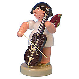 Angel with Cello - Red Wings - Standing - 6 cm / 2,3 inch